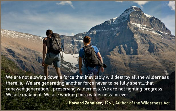 We are working for a wilderness forever - Howard Zahniser